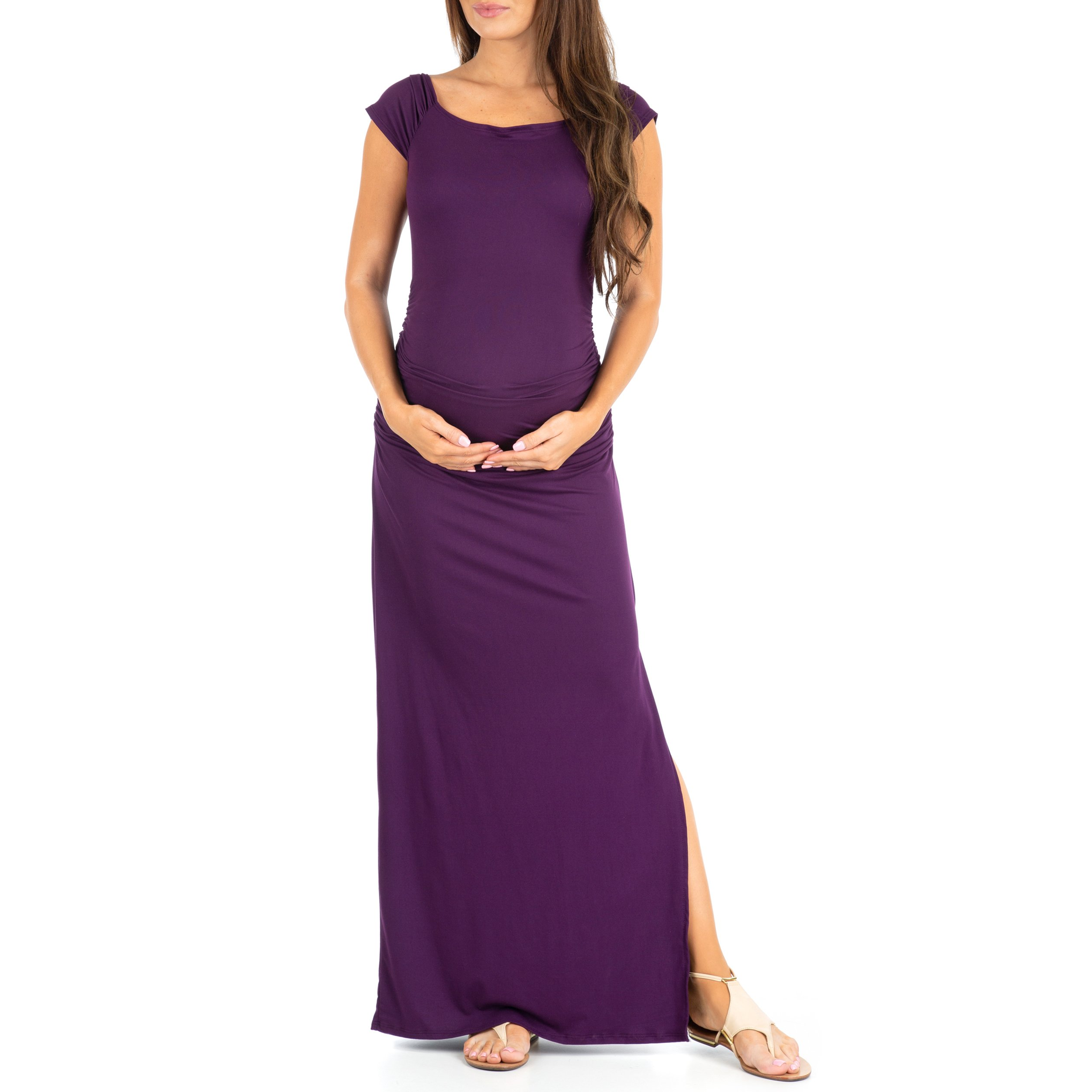 Shortsleeve Ruched Bodycon Maternity Dress with Side Slits