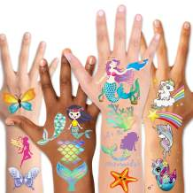 Temporary Tattoos for Kids(80pcs),Konsait Glitter Mermaid Unicorn Butterfly Tattoos for Children Girls Birthday Party Favors Supplies Great Kids Party Accessories Goodie Bag Stuffers Party Fillers