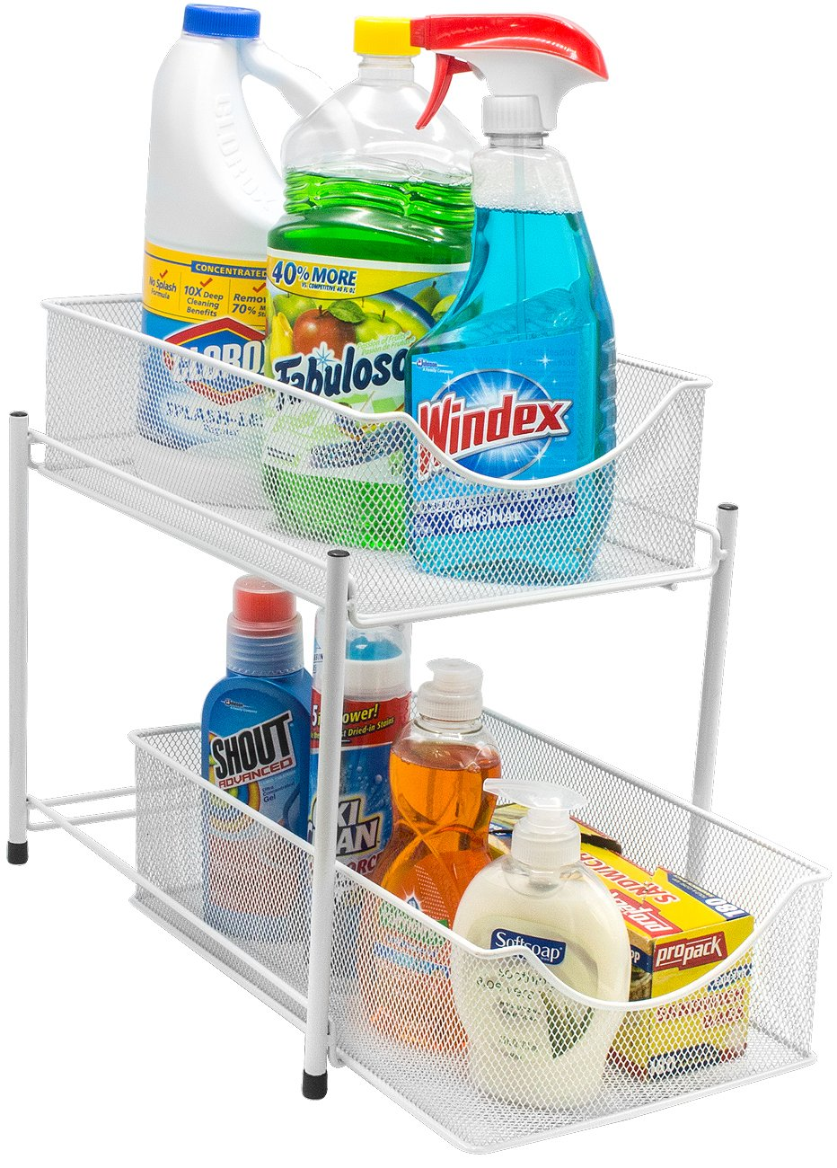 Sorbus 2 Tier Organizer Baskets with Mesh Sliding Drawers —Ideal Cabinet, Countertop, Pantry, Under The Sink, and Desktop Organizer for Bathroom, Kitchen, Office, etc.—Made of Steel (White)