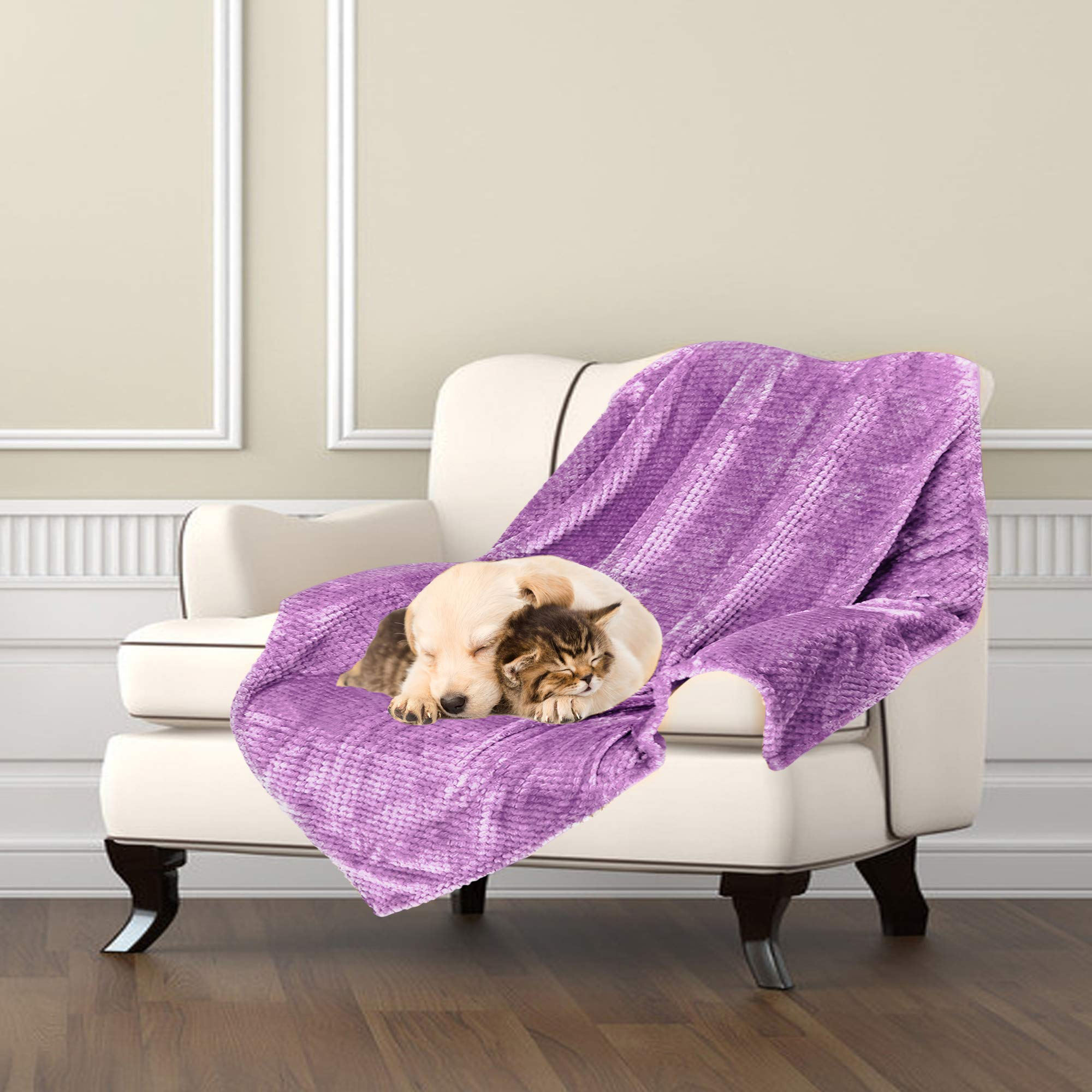 Msicyness Dog Blanket Premium Fleece Fluffy Throw Blankets Soft And Warm Covers For Pets Dogs Cats Large Purple