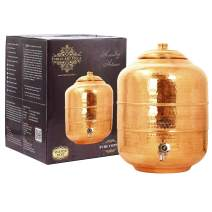 IndianArtVilla Copper Water Pot Tank Dispenser Storage Water Benefit Yoga Ayurveda Volume 338 OZ