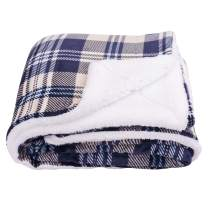 SOCHOW Sherpa Plaid Fleece Throw Blanket, Double-Sided Super Soft Luxurious Bedding Blanket 60 x 80 inches, Yellow/Blue