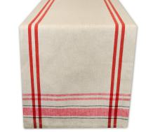 DII 100% Cotton French Tabletop Collection For Everyday Indoor/Outdoor Dining, Special Occasions or Dinner Parties, Machine Washable, Table Runner, 14x72, Taupe w/Red Stripes