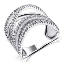Wedding Statement Ring for Women - Intertwined Twisted Cubic Zirconia Wide Band Rings for Women Girls