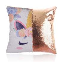 "GONOMI Unicorn Magic Reversible Sequin Flip Mermaid Pillow Cover Throw Cushion Case Decorative Pillowcase (Gold, 16""x 16"")"