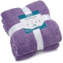 """HBlife Microfiber Luxury Flannel Fleece Blanket Queen Size, Super Soft & Cozy Waffle Weave Pattern Plush Blanket, 90"""" x 90"""" Noble Purple"""