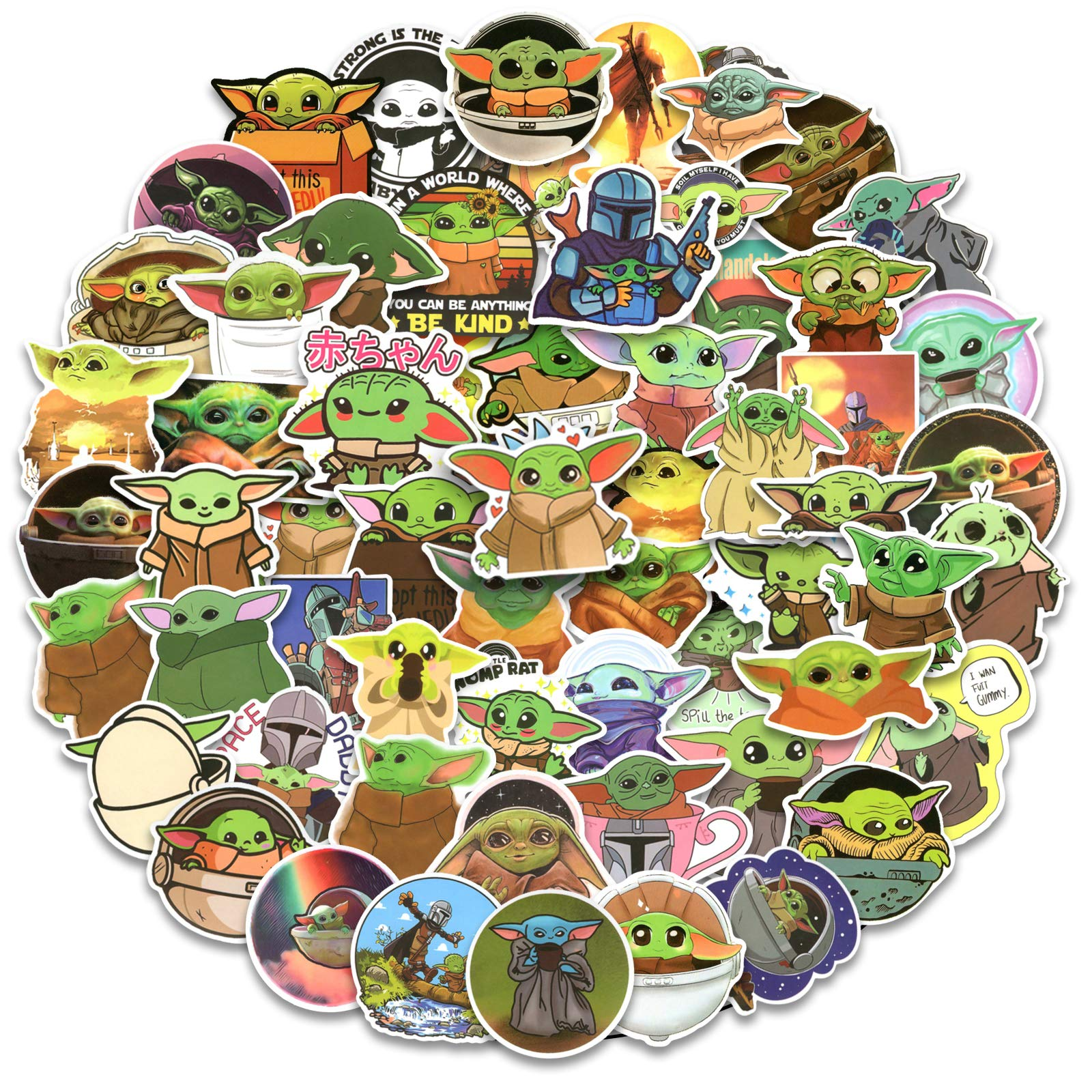 Baby Yoda Stickers, 100pcs Mandalorian Star Wars Decals for Laptop, Vinyl Waterproof Stickers for Water Bottle, Hydro Flasks, Cool Cute Cartoon Stickers for Kids, Teens, Adults
