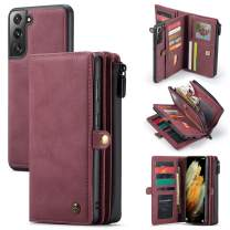 Wallet Case for Galaxy S21/ S21+/ S21 Ultra [2 in 1] Magnetic Detachable Leather Folio Card Pockets Clutch Flip Cover
