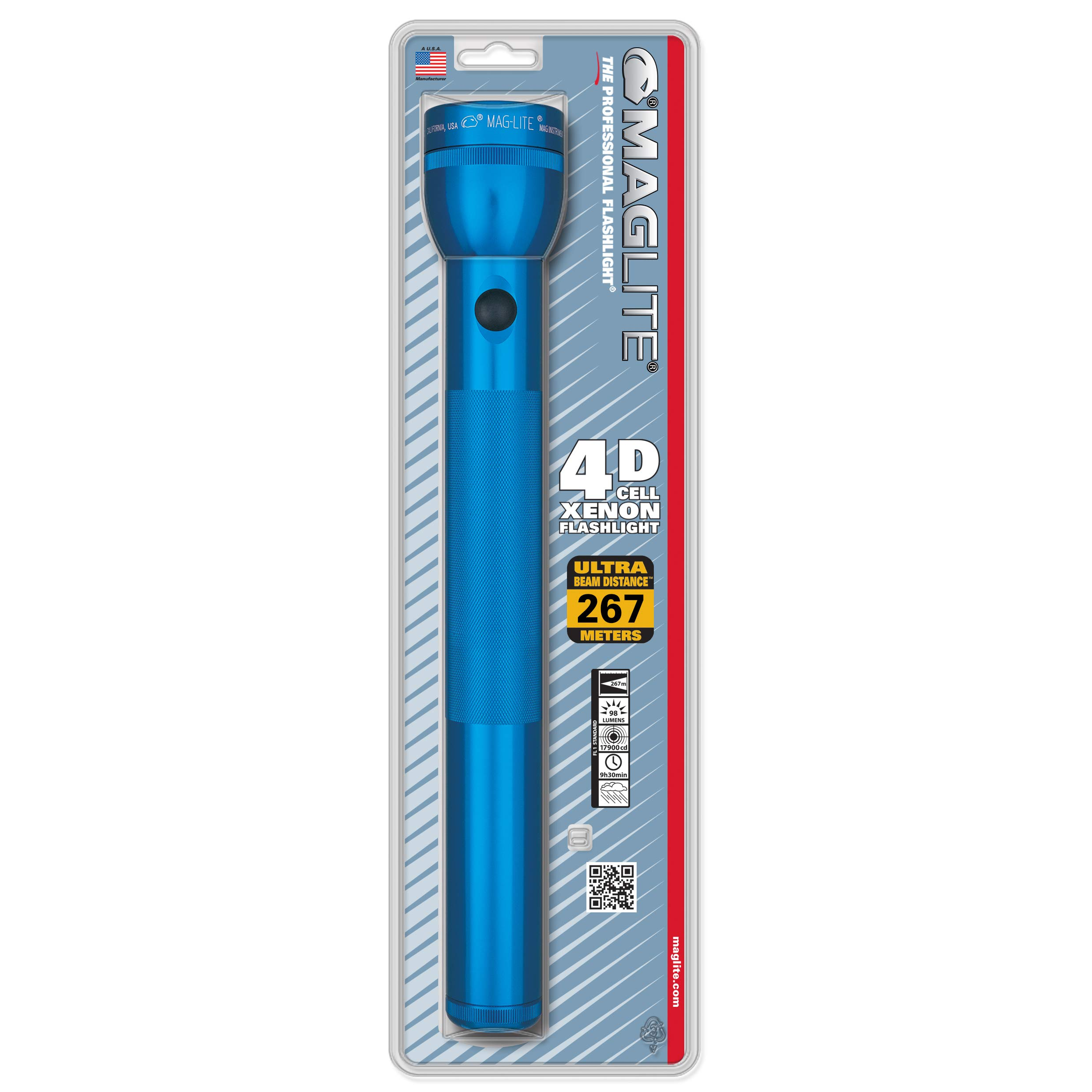 Maglite Heavy-Duty Incandescent 4-Cell D Flashlight, Blue
