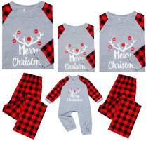 Matching Christmas Pajamas Sets for Family Xmas Holiday Sleepwear Long Sleeve Tee and Pants Loungewear