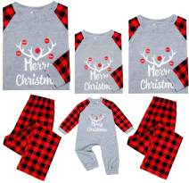 Matching Christmas Pajamas Sets for Family Xmas Holiday Sleepwear Long Sleeve Tee and Pants Loungewear