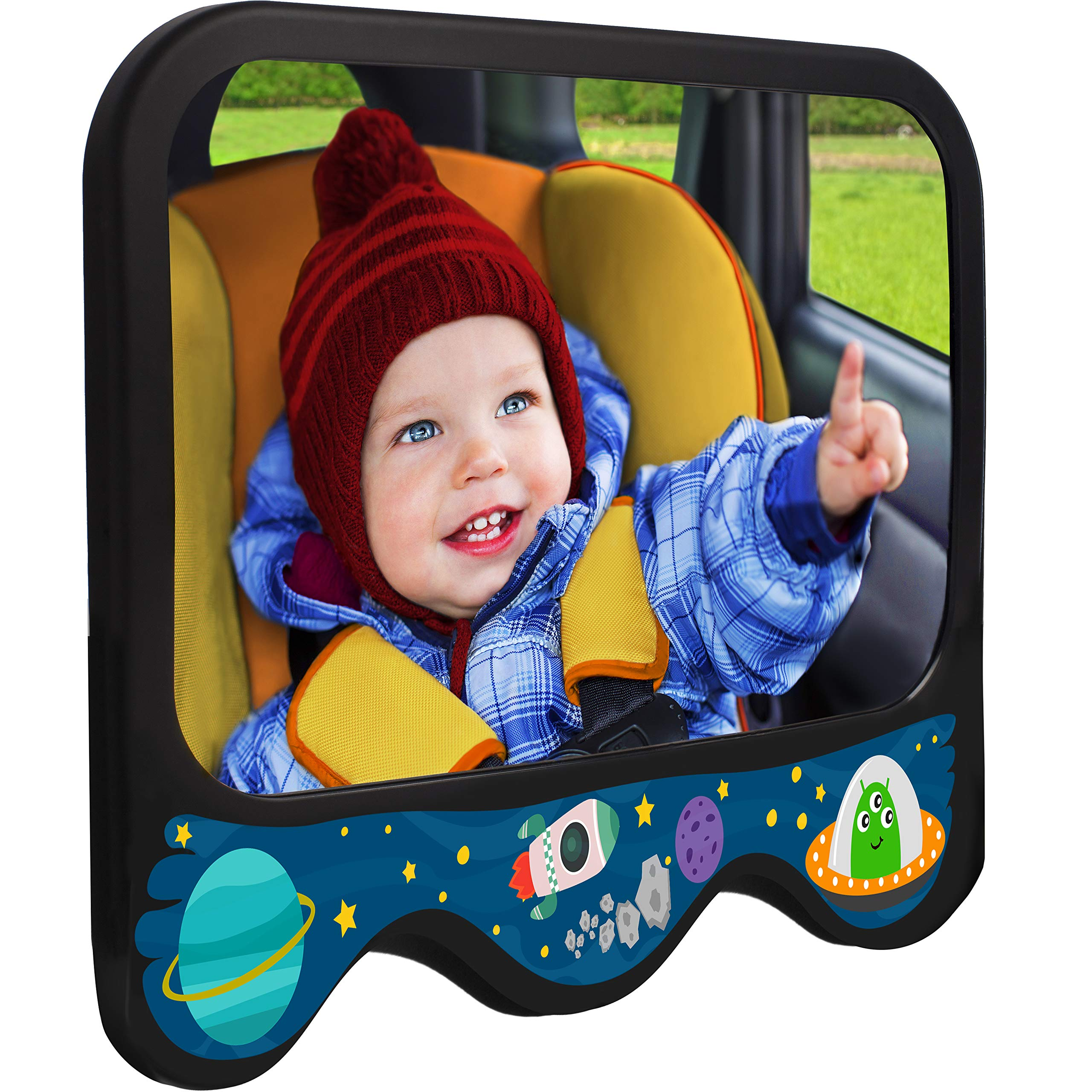 COZY GREENS Baby Car Mirror Space Theme   Baby Mirror for Car Back Seat   Shatterproof, Stable, Crash Tested   100% Lifetime Satisfaction Guarantee   Wide View Carseat Mirrors Backseat Rear Facing