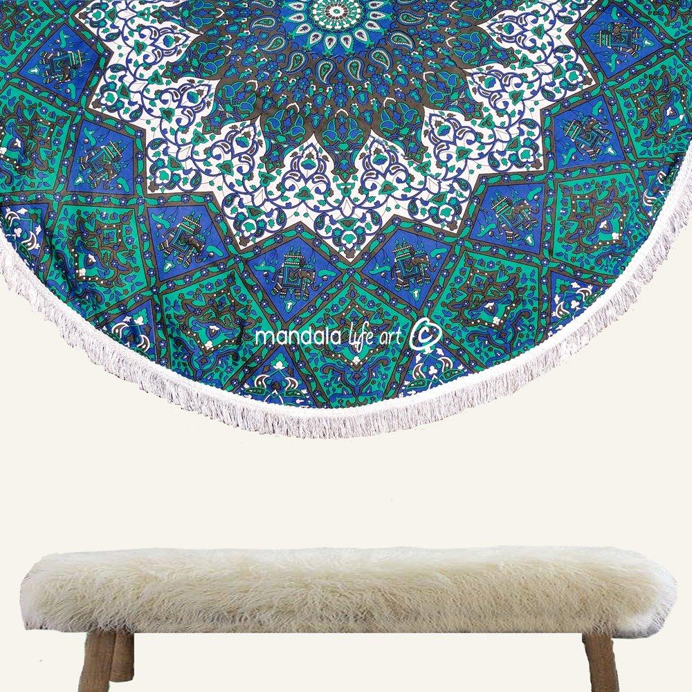 "Mandala Life ART Bohemian Decor Mandala Beach Throw - 72"" Oversized Geometric Starts Tapestry - Colorful 100% Hand Printed Organic Cotton"