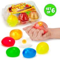 Colorful Eggs Splat and Stick Ball Squishy Toys - 6 Pack - Stress Relief Yolk Squishies - Fun Toy for Easter - Anxiety Reducer Sensory Play - Stocking Stuffers for Kids
