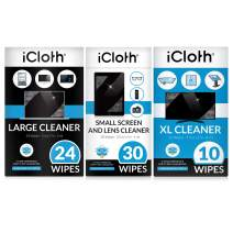 iCloth Large Lens and Screen Cleaner Pro-Grade Individually Wrapped Wet Wipes, Wipes That Clean Smartphones, Tablets, Laptops, and HDTVs -Combo Pack of 64