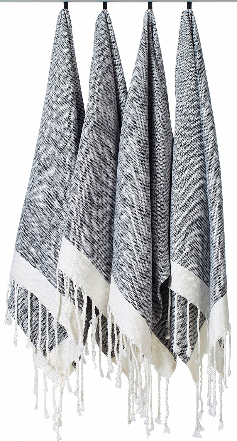 """[SET OF 4] Unique Turkish Cotton Peshtemals & Towels - Size (15.8"""" x 33"""") Travel, Bath, Spa, Sauna, Beach, Gym, Pool, Beach, Yoga, Hand, Face - Super Soft Quick Dry and Highly Absorbent Towels, Black"""