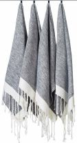 "[SET OF 4] Unique Turkish Cotton Peshtemals & Towels - Size (15.8"" x 33"") Travel, Bath, Spa, Sauna, Beach, Gym, Pool, Beach, Yoga, Hand, Face - Super Soft Quick Dry and Highly Absorbent Towels, Black"