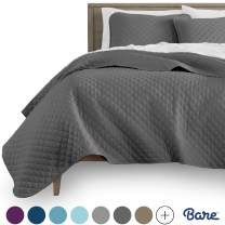 Bare Home Premium 3 Piece Coverlet Set - King Size - Diamond Stitched - Ultra-Soft Luxurious Lightweight All Season Bedspread (King, Grey)