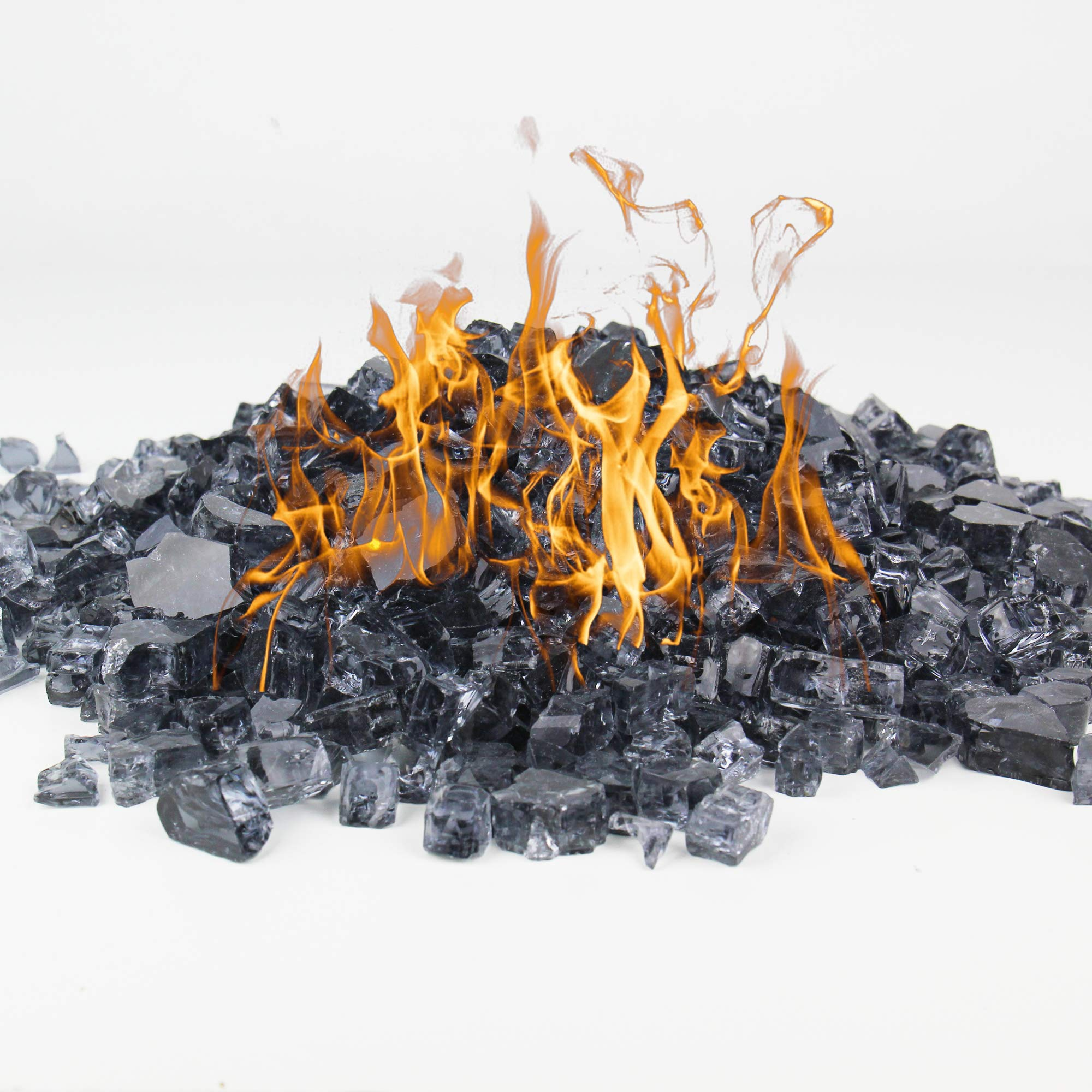 CYS EXCEL Fire Glass for Fire Pit 10 Pounds 1/2 inch Fireplace Glass Fireglass Glass Rock Outdoor (Charcoal Gray)