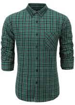 Emiqude Men's Casual Flannel Cotton Slim Fit Long Sleeve Stylish Plaid Dress Shirt