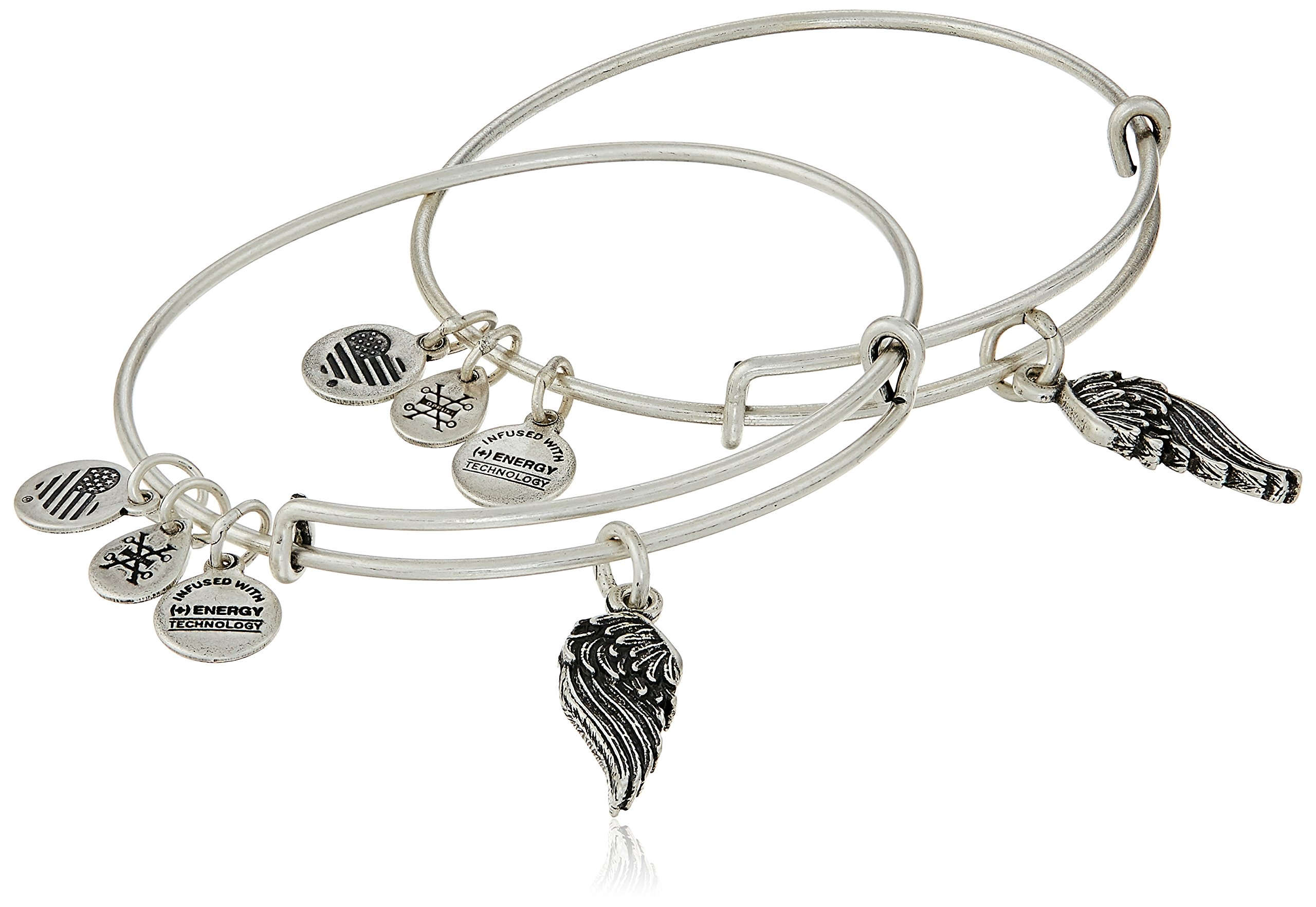 "Alex and Ani ""Path of Symbols"" Wings Set of 2 Expandable Wire Bangle Charm Bracelet"