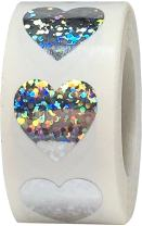 Silver Holographic Sparkle Heart Stickers Valentine's Day Crafting Scrapbooking 0.75 Inch 500 Adhesive Stickers