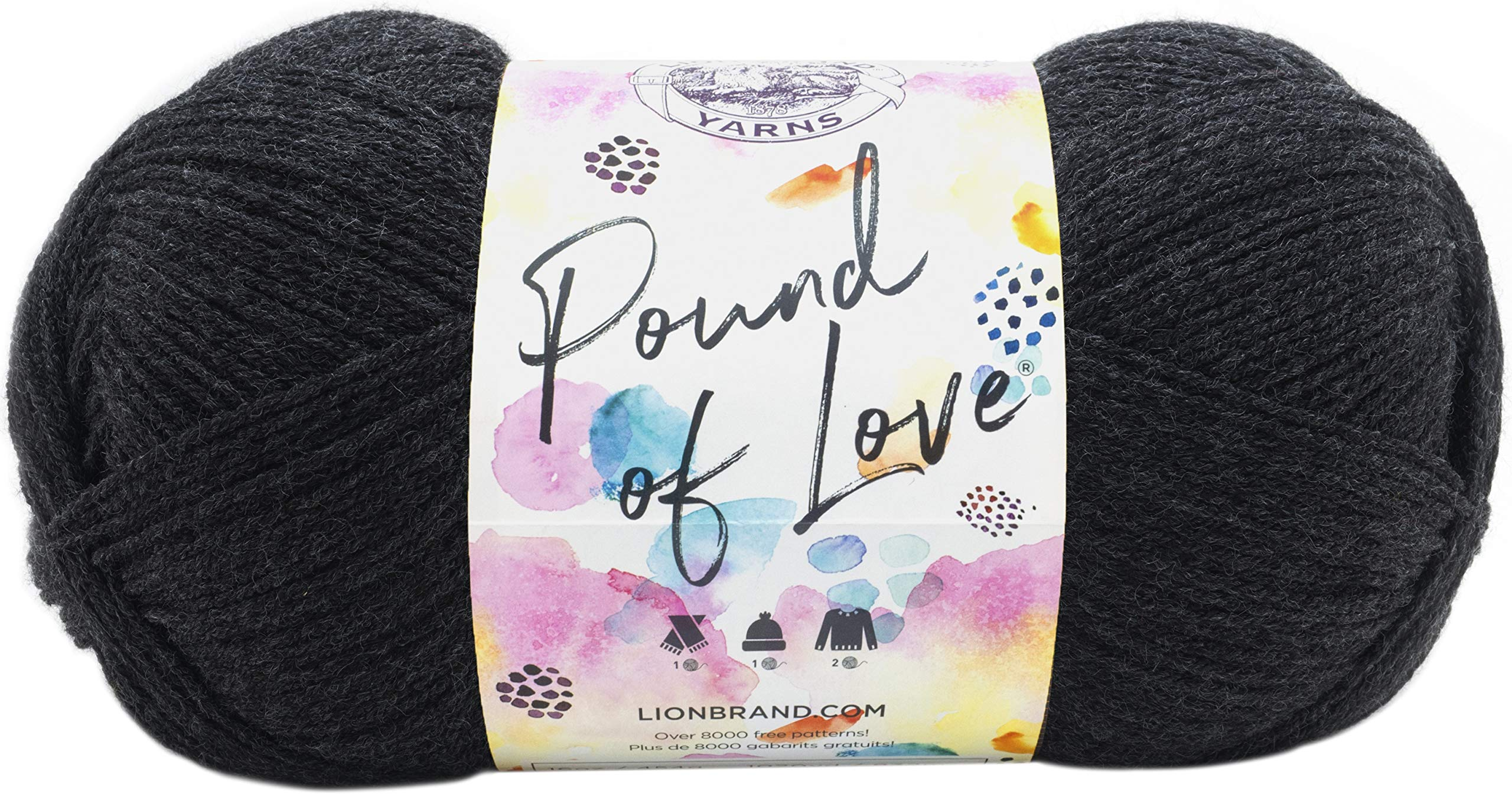 Lion Brand Yarn 550-149 Pound of Love Yarn, Charcoal