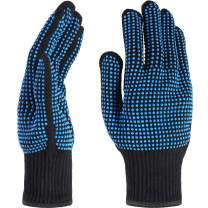 TecUnite 2 Pieces Heat Resistant Gloves Silicone Non-slip Gloves for Hair Styling Curling Iron, Fit All Hand Sizes (Blue silicone dots)