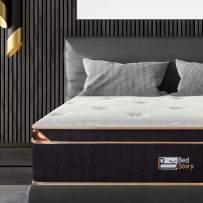 BedStory 12 Inch Gel Hybrid Mattress Twin, Black Luxury Spring Mattress Individually Encased Pocket Coil Mattress Built-in 2 Layers Airflow Convoluted Foam Medium Firm Euro Top