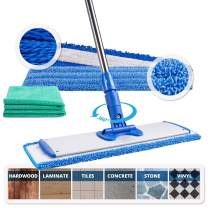 """18"""" Professional Microfiber Mop   Adjustable Stainless Steel Handle   3 Premium Mop Pads + 2 Free Microfiber Cloths   Perfect for Wet and Dust Mopping Hardwood, Laminate, Concrete, Tile, Stone, Vinyl"""
