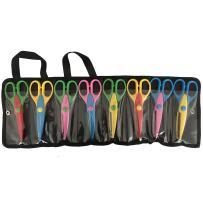 Exerz 8 PCS DIY Art & Craft Scissors with a Carrying Bag/Pocket Decorative Edge for Kids Fun Scrapbooking Pattern Scissors (EX-CC8)