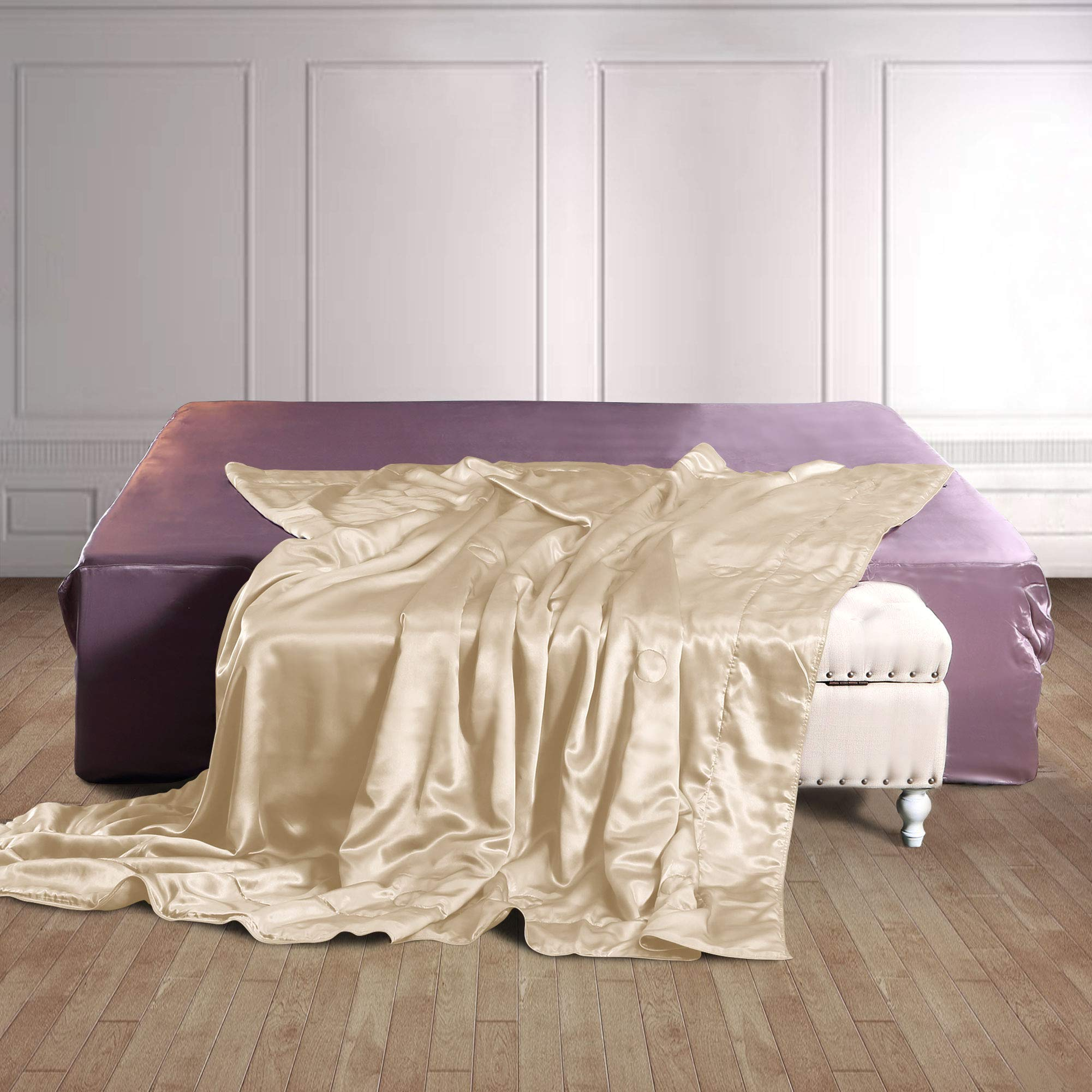 THXSILK 100% Silk Throw Blanket for Bed/Couch Top Grade Long-Strand Silk Quilted Bedspread Soft & Cozy (Champagne, 53x70 inch)