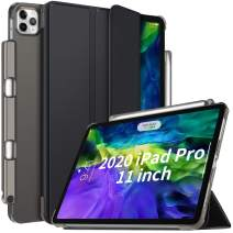IVSO Case for New iPad Pro 11 Inch 2020 2nd Generation with Pencil Holder, Slim Hard Translucent Frosted Back Shell Protective Smart Cover Case - Auto Sleep/Wake + Convenient Magnetic Stand, Black