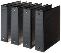 AmazonBasics 3-Ring Binder, 2 Inch - Black, 4-Pack
