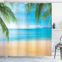 """Ambesonne Beach Shower Curtain, Exotic Lagoon Sand Ocean Paradise Picture Thailand Nature Picture, Cloth Fabric Bathroom Decor Set with Hooks, 75"""" Long, Brown Sky"""