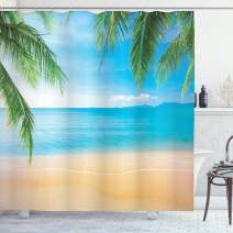 """Ambesonne Beach Shower Curtain, Exotic Lagoon Sand Ocean Paradise Picture Thailand Nature Picture, Cloth Fabric Bathroom Decor Set with Hooks, 70"""" Long, Sand Brown Sky Blue"""