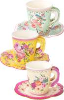 "Talking Tables Truly Scrumptious Party Vintage Floral Tea Cups and Saucer Sets, Pack of 12, Height 8cm, 3"", Mixed colors"