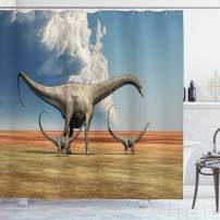 """Ambesonne Jurassic Shower Curtain, Mother Diplodocus Dinosaur Walks Along with Her Brood of Youngsters Clouds, Cloth Fabric Bathroom Decor Set with Hooks, 84"""" Long Extra, Blue Beige"""