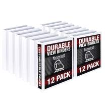 Samsill Durable 1.5 Inch Binder White D Ring/Customizable Clear View Binder/Bulk Binder 12 Pack/White 3 Ring Binder / 1.5 Inch Binder