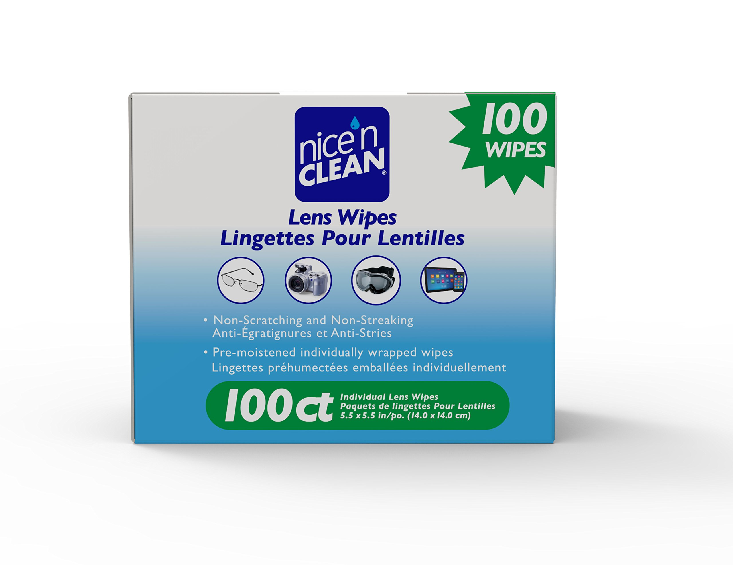 Nice 'n Clean Lens Cleaning Wipes (100 Total Wipes) | Pre-Moistened Individually Wrapped Wipes | Non-Scratching & Non-Streaking | Safe for Eyeglasses, Goggles, Camera Lens