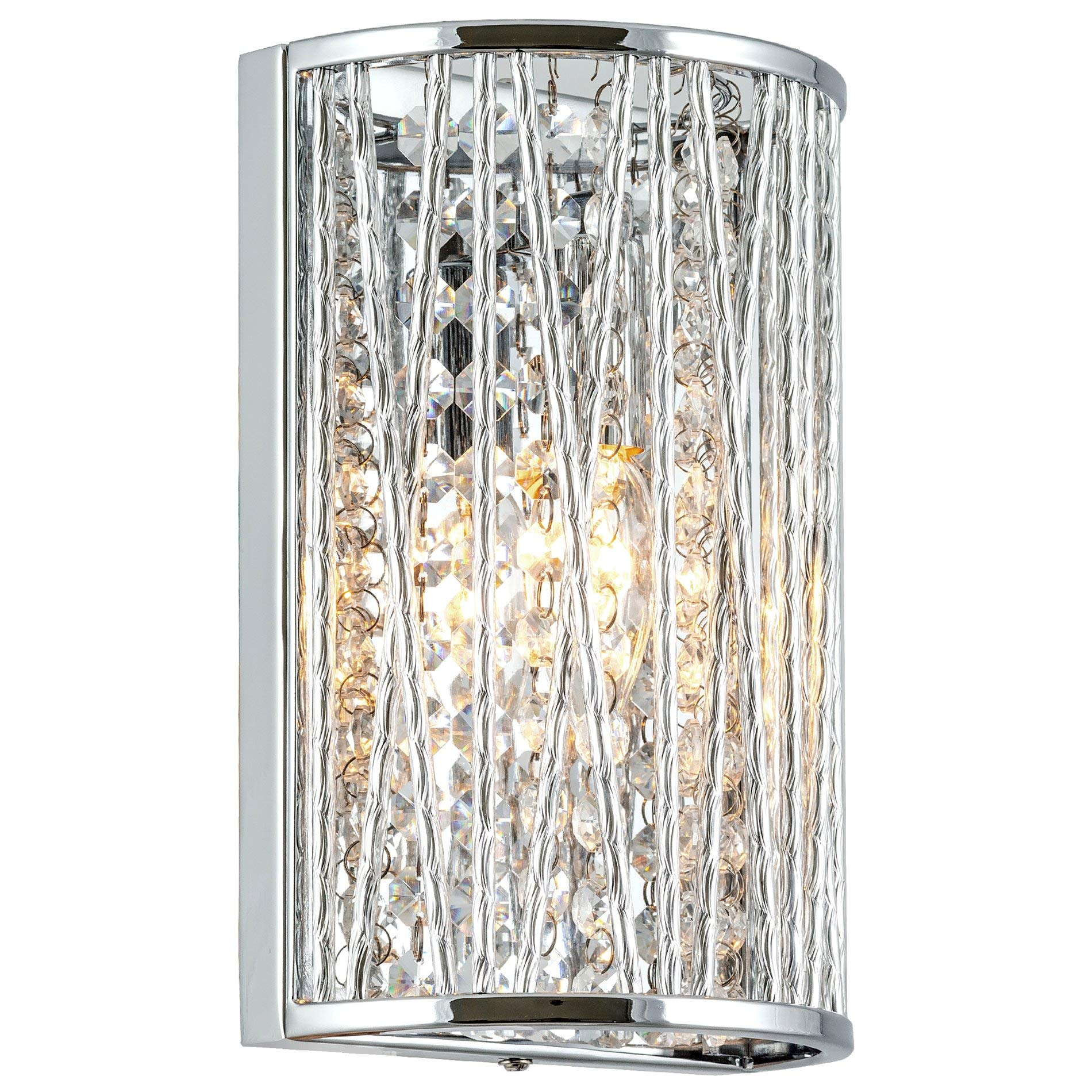 """Kira Home Claire 9"""" Modern Chic Wall Sconce + Hanging Crystals, Rounded Metal Frame, Chrome Finish"""
