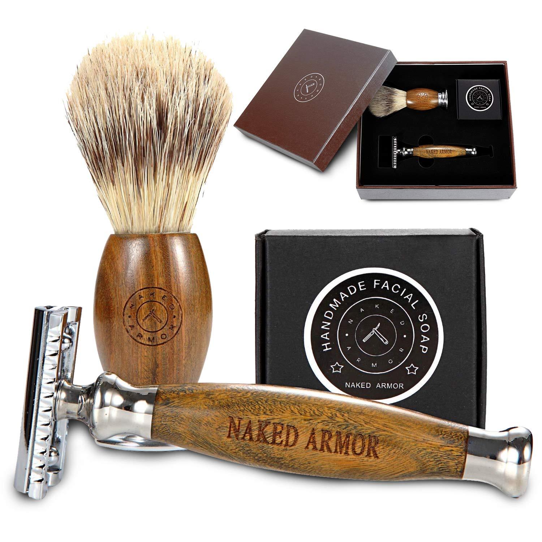 Safety Razor Kits For Men, Elegant Brazilian Wood Safety Razor, Safety Razor Shaving Kit With Organic Shave Soap & Brush, Start Safety Razor Shaving