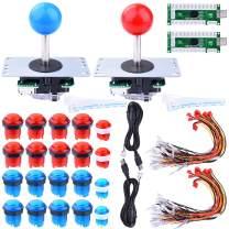 Longruner Arcade Buttons Joystick DIY Kit for Mame Jamma Arcade Project Red + Blue Kits for Raspberry Pi 3 2 Model B Retropie