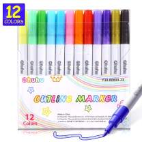 Self-outline Metallic Markers, Ohuhu 12 Colors Double Line Outline Marker for Journaling Gift Card Writing Making Coloring Sketching, Metallic Art Marker Pens for Kids Back to School Art Supplies