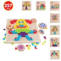QZM Wooden Peg Board Puzzle Mosaic Pegboard Game with 250pcs Colorful Mushroom Nails Puzzles 3D Pixel Color Brain Board Game for Kids Toddlers Christmas Gift for Boys girls