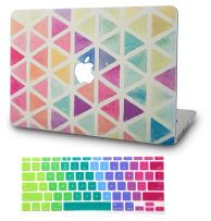 """KECC Laptop Case for Old MacBook Pro 13"""" Retina (-2015) w/Keyboard Cover Plastic Hard Shell Case A1502/A1425 2 in 1 Bundle (Color Triangles)"""