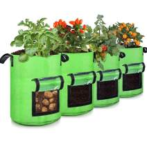 10 Gallon Potato Grow Bags, 4 Pack, Two-Sides Window Garden Planting Bag with Durable Handle, Thickened Nonwoven Fabric Pots Vegetable Grow Bags for Tomato, Carrot, Onion, Fruits, Flower(Green)