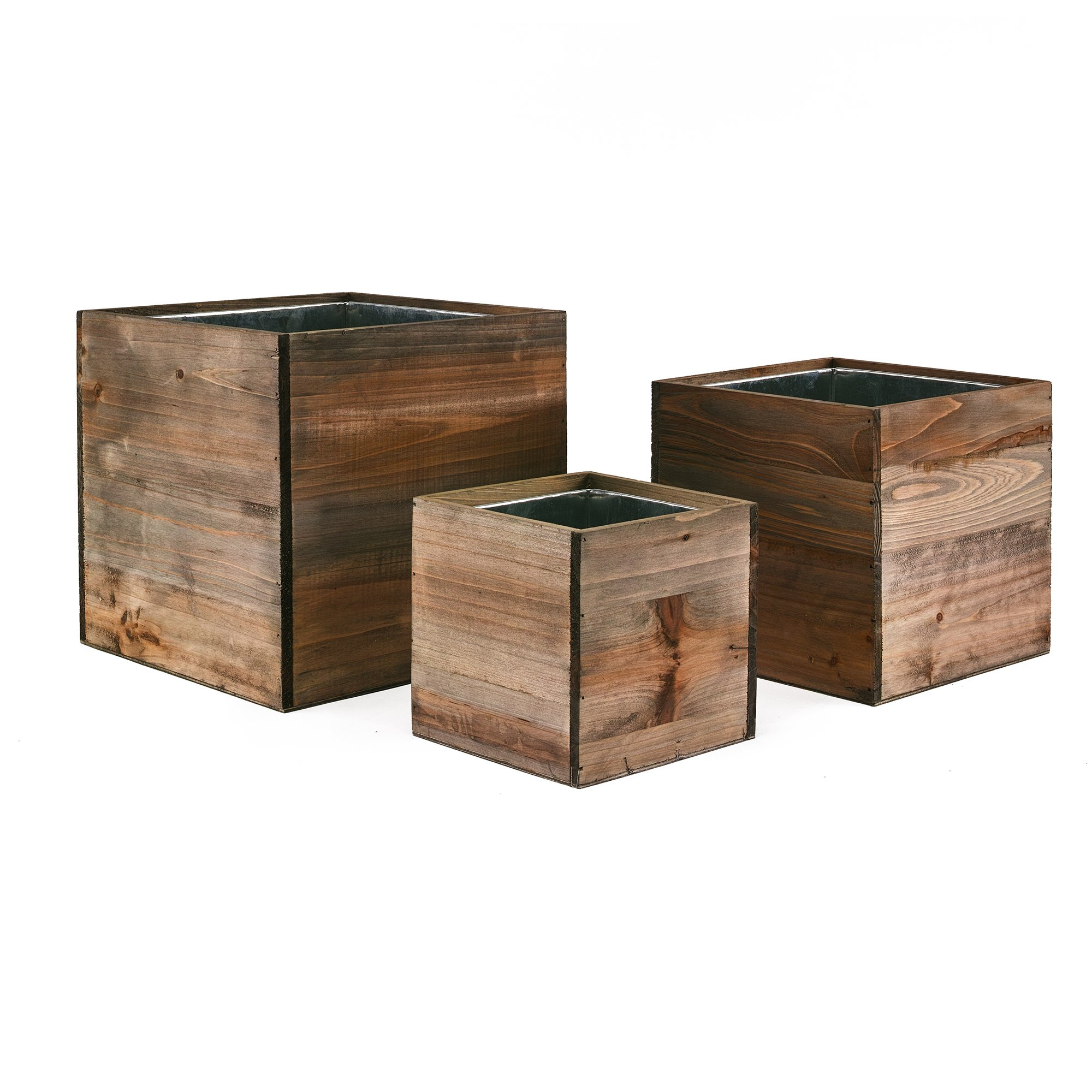 """CYS EXCEL - Cube Wood Planter Box Set - Include Zinc Metal Liner [7 Sizes Combinations] - Ideal for Garden Decoration - [Set of 4 Sizes: 4"""", 6"""", 8""""]"""