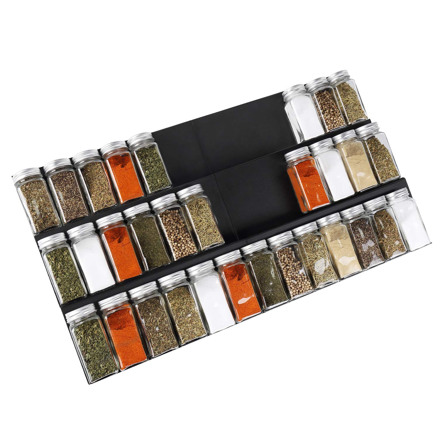 Geesta Adjustable Expandable Spice Rack Tray, 2 Pack 3-Tier Steel Spice Drawer Organizer Insert for Kitchen
