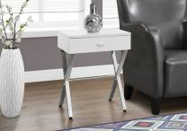 """Monarch Specialties Chrome Metal Night Stand Accent Table, 22.00 x 12.00 x 18.00"""", Glossy White"""
